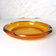 Large 8 Inch Vintage Round Gold Amber Glass Cigarette Ashtray
