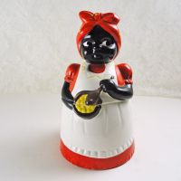 Black Americana Mammy Stirring Pot Figural Ceramic Cookie Jar