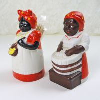 Set of Two Black Americana Ceramic Toothpick Holders