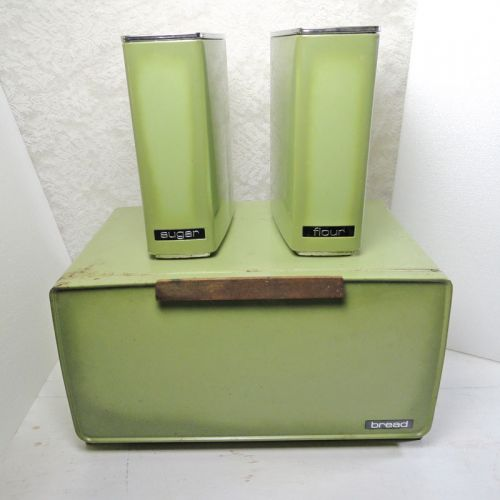 Lincoln BeautyWare Green Metal Breadbox and Canisters Set