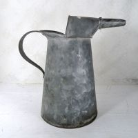 One Gallon Vintage 11H Galvanized Metal Oil Can