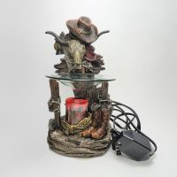 Electric Oil Tart Warmer Cowboy Boots and Hat Cow Skull