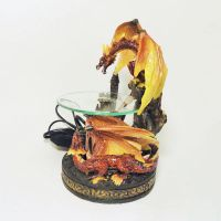 Fighting Dragons on a Castle Polyresin Electric Oil Warmer