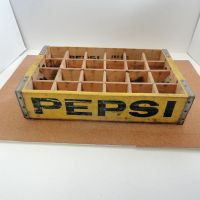 Pepsi Cola Vintage Yellow 24 Bottle Wood Slotted Crate Case