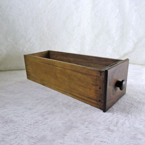 Vintage Wooden Sewing Machine Drawer with Wood Knob No 4