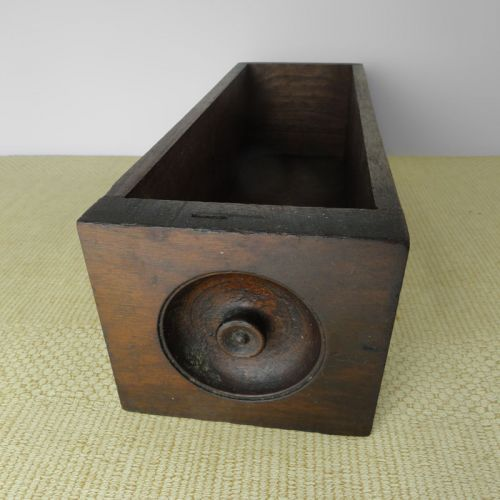 Vintage Sewing Machine Drawer with Carved Wood Knob on Front