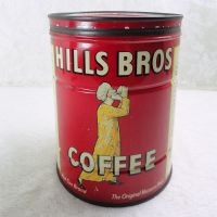 Hills Bros 2 Lb. Vintage Coffee Tin Can with Metal Lid