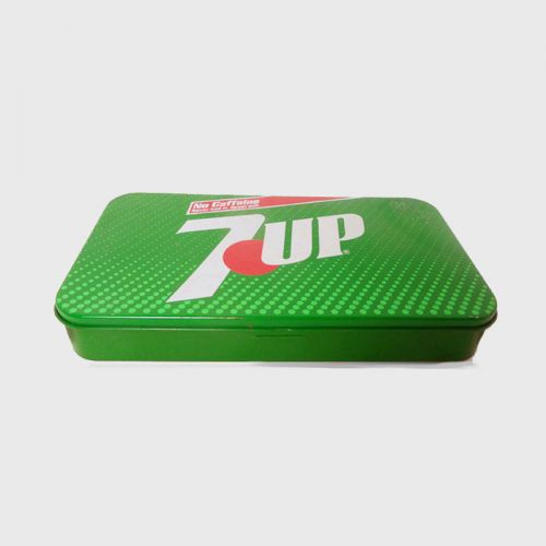 Seven Up Metal Advertising Tin with Hinged Top from 1985