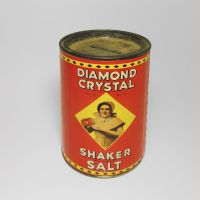 Diamond Crystal Shaker Salt Vintage Tin Bank