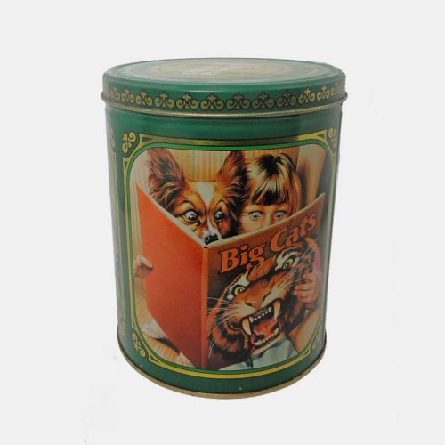 Purina Biscuits Vintage Metal Canister with Lid from 1989