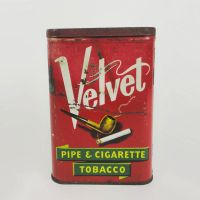 Velvet Pipe and Cigarette Vintage Pocket Tobacco Tin