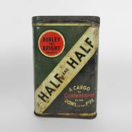 Half and Half Metal Pocket Pipe Tobacco Tin with Hinged Lid