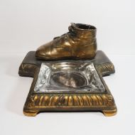 Bronze Baby Shoe Figurine with Glass Ashtray