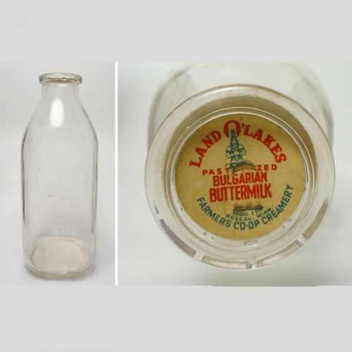 Land O Lakes Vintage Quart Buttermilk Bottle
