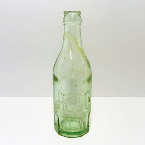 KC & Co Vintage Heavy Light Green Thick Glass Bottle