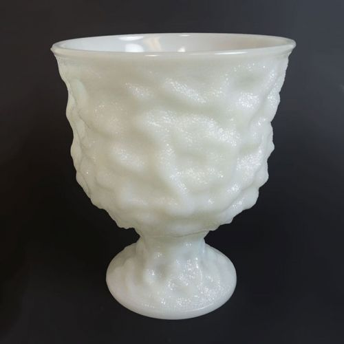 E.O. Brody Vintage Milk Glass Raised Design Compote Bowl