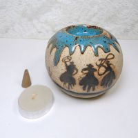 Cowboys on Horseback Round Ceramic Tealight Candle Holder