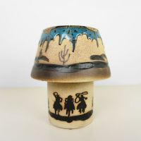 Cowboys on Horseback 2 Piece Ceramic Tealight Candle Lamp