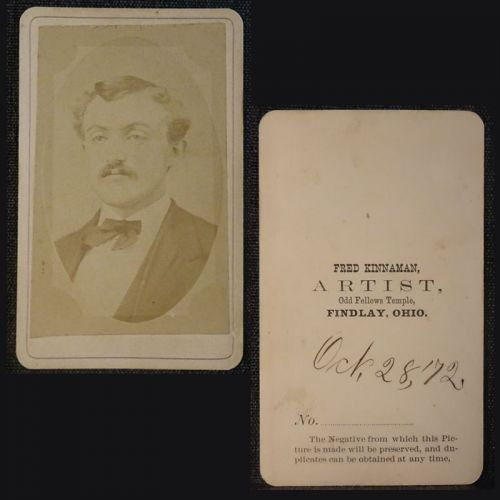Antique 1872 CDV Photo Man with Mustache Dated