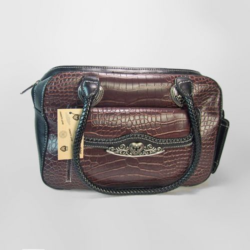 Faux Alligator Finish Handbag with Built-In Cell Phone Holder on the Side