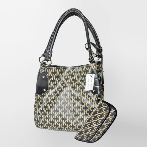 Letter K Pattern Vinyl Handbag or Tote with Cloth interior and Matching Wallet