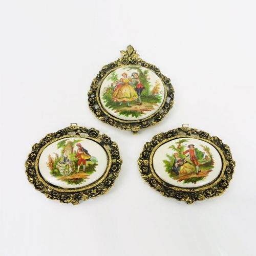 Set of Three Vintage Cameos Medallions with German Theme