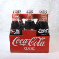 Set of 6 Seasons Greetings Full Coke Bottles in Carton