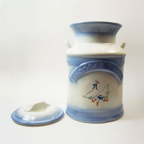 Cookie Time Milk Can Vintage Ceramic Cookie Jar with Geese