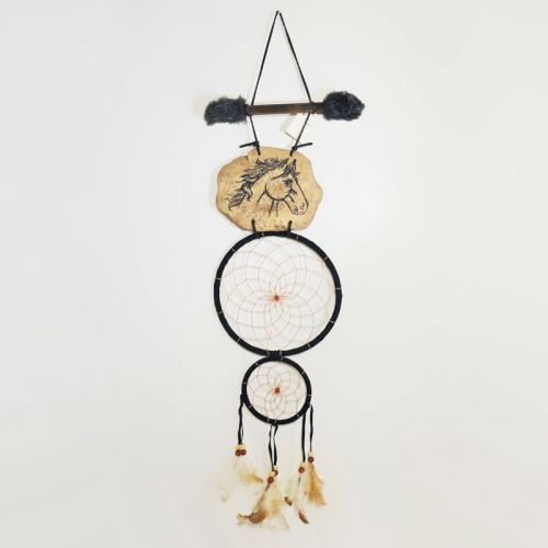 Dreamcatcher Horse Head on Rock Faux Fur Stick Hoops