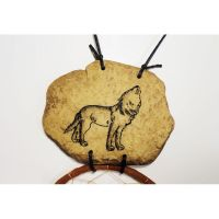 Dreamcatcher Howling Wolf on Rock Faux Fur Stick Hoops