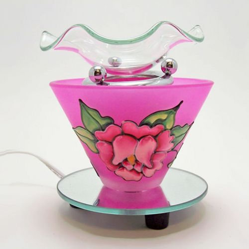Electric Scented Oil Tart Warmer Etched Rose Deep Pink