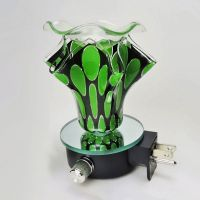 Green Ovals on Black Plug In Scented Oil Wax Tart Warmer