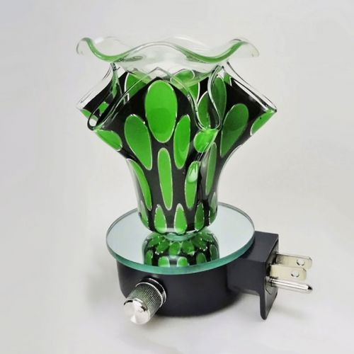 Green Ovals on Black Plug In Electric Oil Tart Warmer