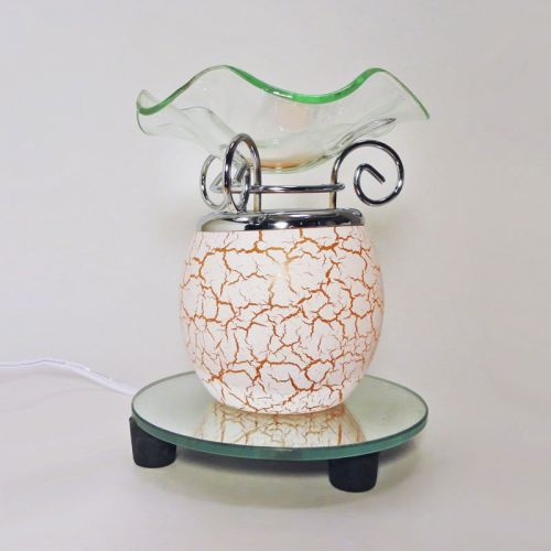 Electric Scented Oil Tart Warmer Orange Crackle Glass