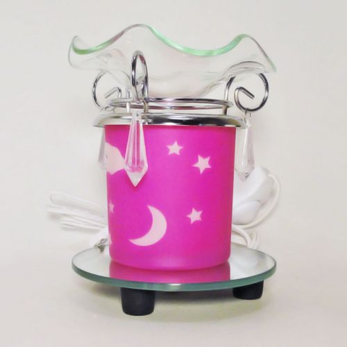 Electric Scented Oil Tart Warmer Pink Night Sky Glass