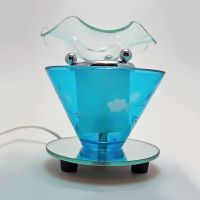 Wildflowers on Blue Round Glass Electric Oil Tart Warmer