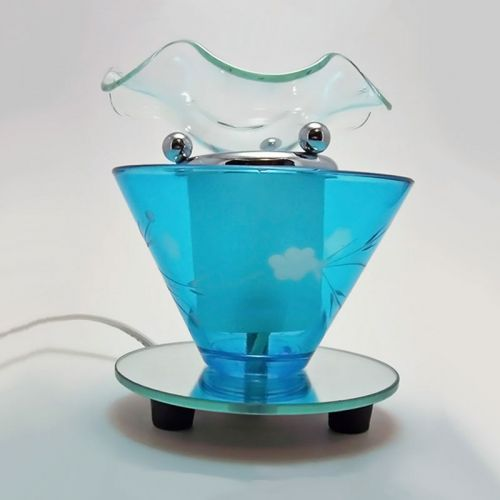 Electric Scented Oil Tart Warmer Wildflowers on Blue