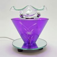 Wildflowers on Purple Round Glass Electric Oil Tart Warmer