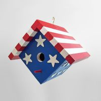 Handcrafted Patriotic Birdhouse Stars and Stripes