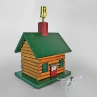 Handcrafted Log Cabin Lamp with Lampshade