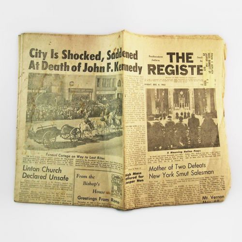 The Register Dec 6, 1963 Vintage Full Newspaper Death of John F. Kennedy JFK
