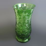 Green Glass Vintage Flower Vase with Leaf Design
