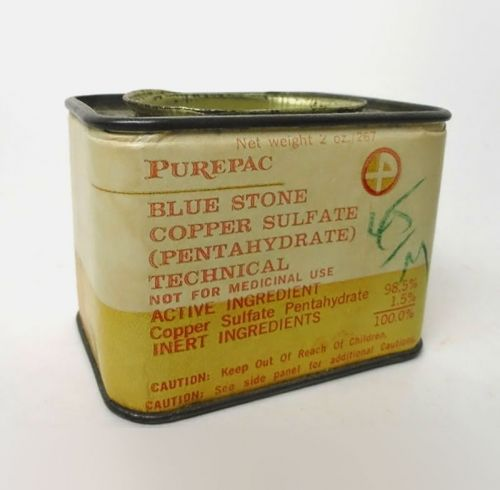 PurePac Blue Stone Copper Sulfate Weed Control Vintage Tin