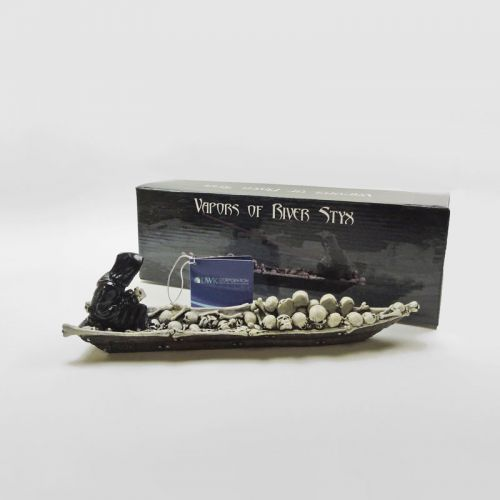 Grim Reaper in a Boat of Skulls Incense Burner Holder
