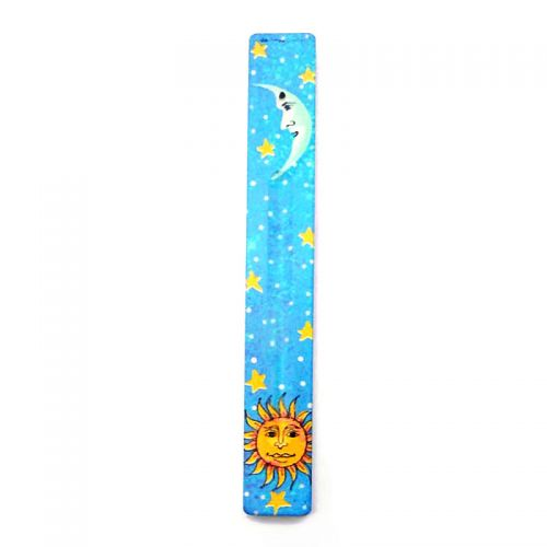 Incense Holder Ash Catcher Sun and Moon Blue Sky Wood