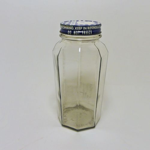 Octagon Vintage Glass Food Jar with Blue Metal Screw Lid