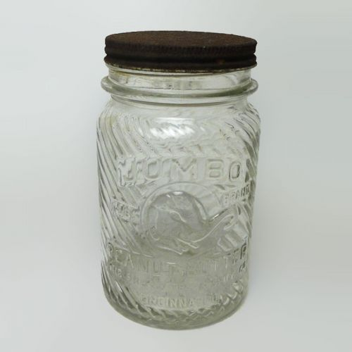 Jumbo Peanut Butter 1 lb. Vintage Clear Glass Jar