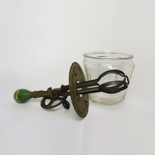 1930s Vintage A & J Hand Mixer Beater with Bowl