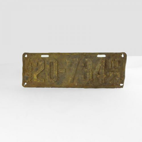 1923 Authentic Vintage Illinois Metal Truck License Plate