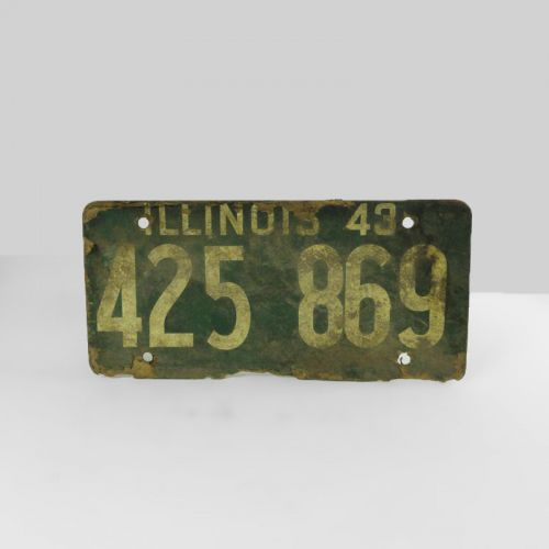1943 Authentic Illinois Fiberboard Car License Plate